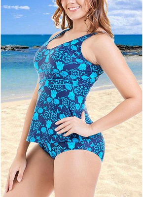 Plus Size Print O Neck Sleeveless Backless One Piece Swimsuit_5