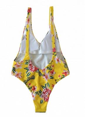 Women One Piece Swimsuit Flower Print Low Side Swimwear Playsuit Jumpsuit Rompers_6