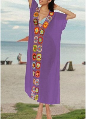 size Crochet Knit Deep V-Neck Short Sleeve Side Split Beach Cover Up_4