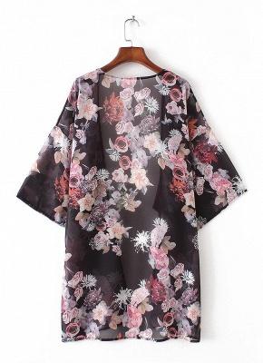 Fashion Chiffon Loose Cardigan Front Floral Print Vintage Women's Kimono_5