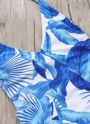 Women One Piece Sexy Bikini  Floral Print Backless Strappy Monokini Swimsuits Beach Wear_5