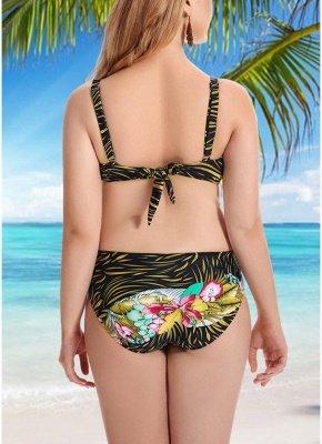 Women Plus Size Swimsuits Leaves Floral Print Sexy Bikini  Swimwears_5