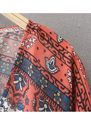 Boho Chiffon Floral Print Front Open Women's Loose Kimono_5
