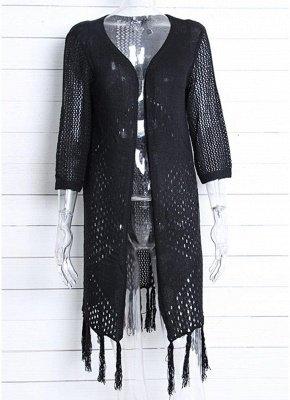 Women Cardigan Sexy Bikini Cover Ups Tassels Knitting Boho Loose Kimono Long Beachwear_5