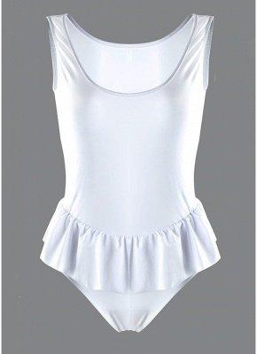 Women One Piece  Ruffle Monokini Swimsuit Brief Cut Solid Swimwear_3