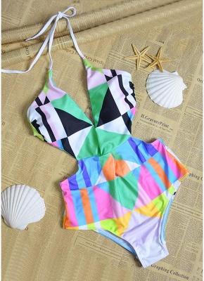 Women Halter One Piece Swimsuit Geometric Print Deep V-Neck Backless Cutout Sexy Bikini  Swimsuit_3
