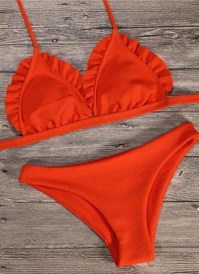 Women Sexy Bikini Set Push Up  Swimsuit Ruffle Low Waisted Padded Two Piece Swimwear Beach Wear_3