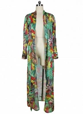 Women Chiffon Sexy Bikini Cover Up Floral Print Bohemia Cardigan Kimono Loose Outerwear Beachwear Green/Blue_5