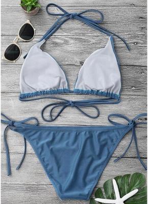 Solid Color Halter Bandage Tie Sexy Bikini Set_6