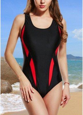 Women One-Piece  Color Splice Sleeveless Padding Wireless Swimwear Swimsuits_1