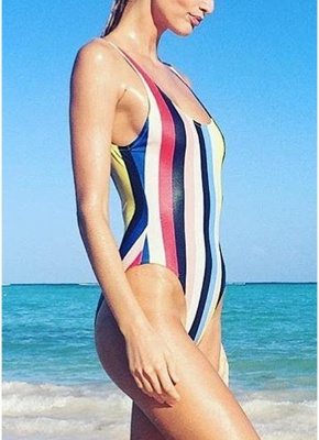 Women Striped Swimsuit Backless High Cut  Beach Playsuit_3