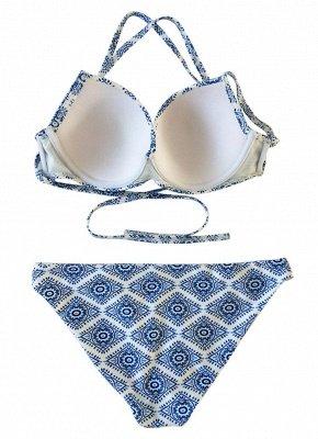 Women Sexy Bikini Set Geometric Pattern Print Bandage Cross Over Padded Hollow Out Swimsuit_5