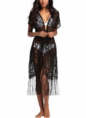 Women Swimsuit Lace Cover Up Tassel Bandage Holiday Beach Wear Swimwear Overall?_1