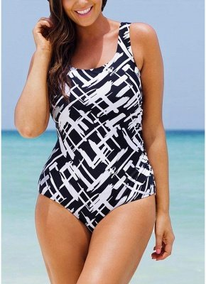 Women Large Size One-piece Swimsuit Contrast Color Stripes  Swimwear_2
