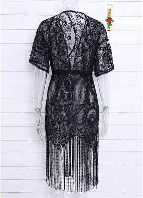 Women Swimsuit Lace Cover Up Tassel Bandage Holiday Beach Wear Swimwear Overall?_5