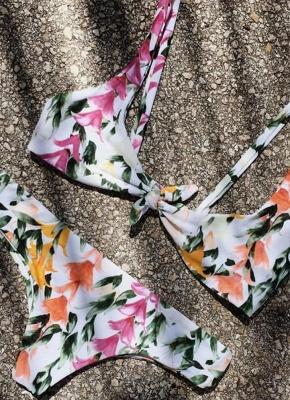 Women Front Tie Push Up Flower Printed Beach Sexy Bikini Set_2