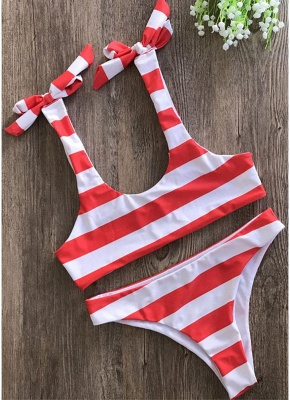 Striped Print Bow Top Bottom Sexy Bikini Set_1