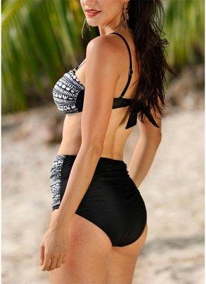 Women Swimsuits Geometric Print Push Up Padded High Waist Sexy Bikini Set Swimwear Bathing Suits Black_4