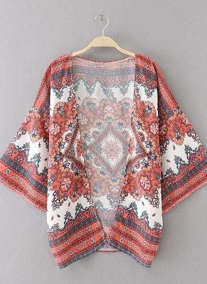 Boho Chiffon Floral Print Front Open Women's Loose Kimono_4
