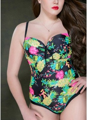 2xl Plus Size Print Spaghetti Strap Hollow Out Backless One Piece Swimsuit_1