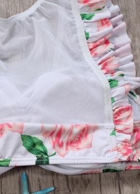 Women Two Piece Swimsuit Floral Print Mesh Ruffled Beach  Sexy Bikini Set Swimwear Pink?_5