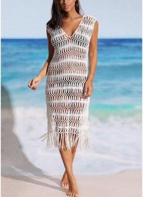 size Women Hollow Sexy Bikini Cover Up Dress Crochet Fringes Tassels Swimwear Beachwear_1