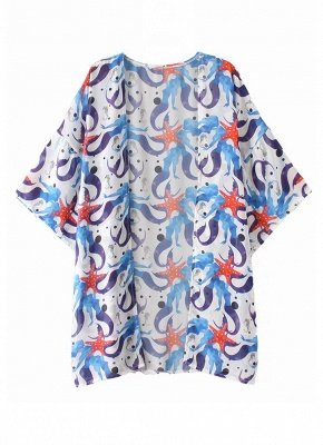 Women Chiffon Beach Kimono Mermaid Print Sea Holiday Cardigan_1