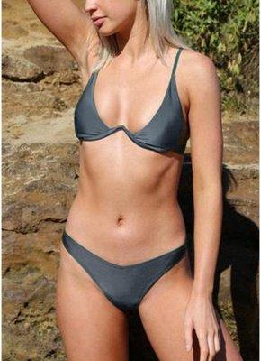 Women Sexy Bikini Set Solid Underwire Push-Up Top Bottom  Swimsuit Swimwear_2