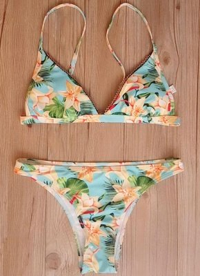 Flower Print Beading Trim Triangle Padded Sexy Bikini Set_6