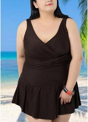 Plus Size Spaghetti Strap Ruffle Backless One Piece Swimsuit_1