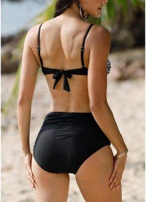 Women Swimsuits Geometric Print Push Up Padded High Waist Sexy Bikini Set Swimwear Bathing Suits Black_3