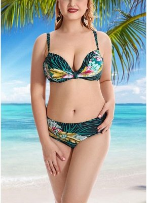 Women Plus Size Swimsuits Leaves Floral Print Sexy Bikini  Swimwears_3
