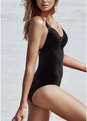 Women Swimsuit Deep V Neck Hollow Out  Beach Playsuit_4