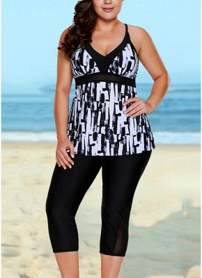 Vintage Women Tankini Capris Deep V Printed Cross Over Backless Swimsuit_2