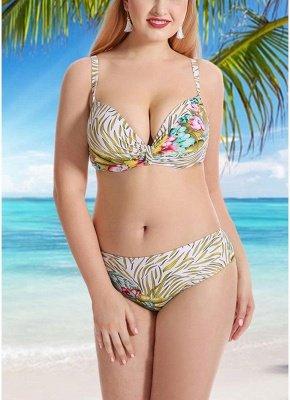 Women Plus Size Swimsuits Leaves Floral Print Sexy Bikini  Swimwears_1