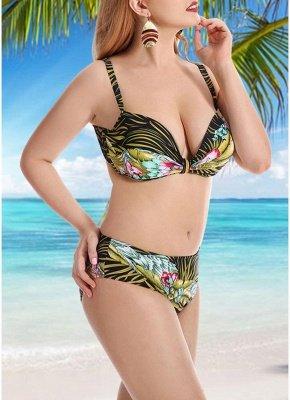 Women Plus Size Swimsuits Leaves Floral Print Sexy Bikini  Swimwears_6