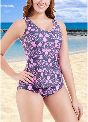 Plus Size Print O Neck Sleeveless Backless One Piece Swimsuit_1