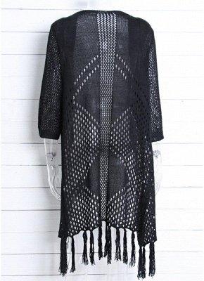 Women Cardigan Sexy Bikini Cover Ups Tassels Knitting Boho Loose Kimono Long Beachwear_6