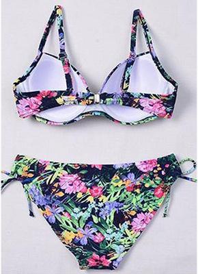 Women Underwire Two Pieces Swimsuit Floral Print Drawstring Sexy Bikini Set Bathing_7