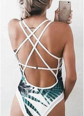 Leaves Print Plunge V Neck Crisscross Strappy One-piece Swimsuit_6