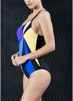 Women One-piece Swimsuit Contrast Color Block Sporty Monokini  Swimwear_4
