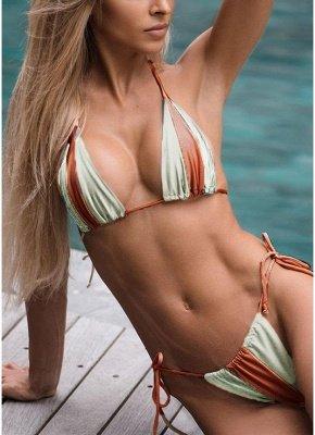 Women Sexy Bikini Set Contrast Color Block Bandage Strappy Halter Top Thong Two-Piece  Beach Swimsuit Swimwear_2
