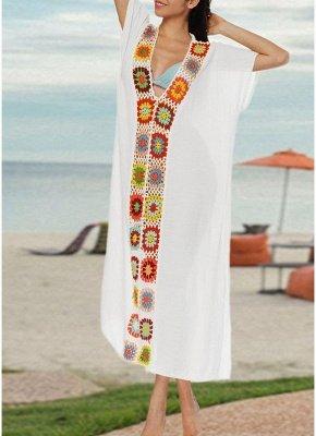 size Crochet Knit Deep V-Neck Short Sleeve Side Split Beach Cover Up_1