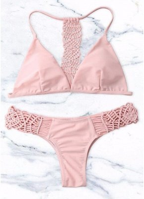 Woven Racerback High Cut Women Triangle Sexy Bikini Set