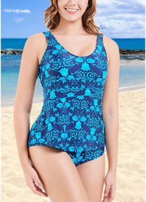 Plus Size Print O Neck Sleeveless Backless One Piece Swimsuit_3