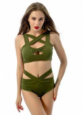Women Sexy Bikini Set Cut Out Front Deep V-Neck Seeveess High Waist Bottom Swimwear Red/Green_6