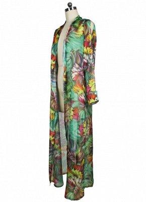 Women Chiffon Sexy Bikini Cover Up Floral Print Bohemia Cardigan Kimono Loose Outerwear Beachwear Green/Blue_7