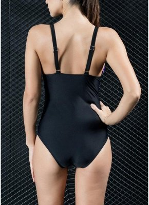 Women One-piece Swimsuit Contrast Color Block Sporty Monokini  Swimwear_5