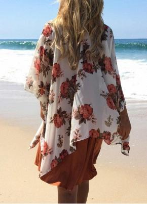 Boho Chiffon Floral Print Open Front Women's Long Kimono_4