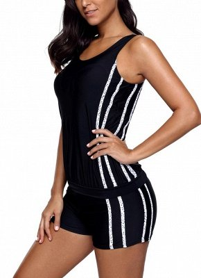 Women Tankini Set Swimsuit Striped Padded Top Bottoms  Two Piece Swimwear_4